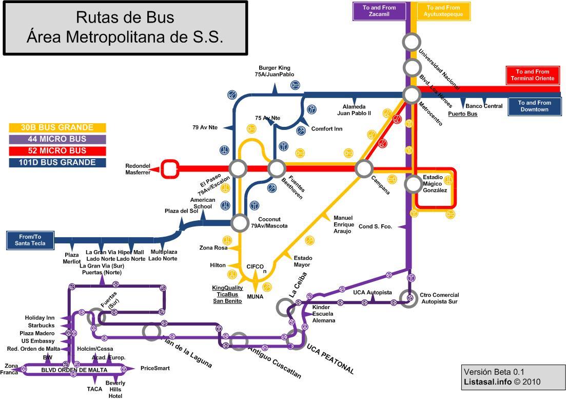 Mapa de Rutas de Bus de San Salvador